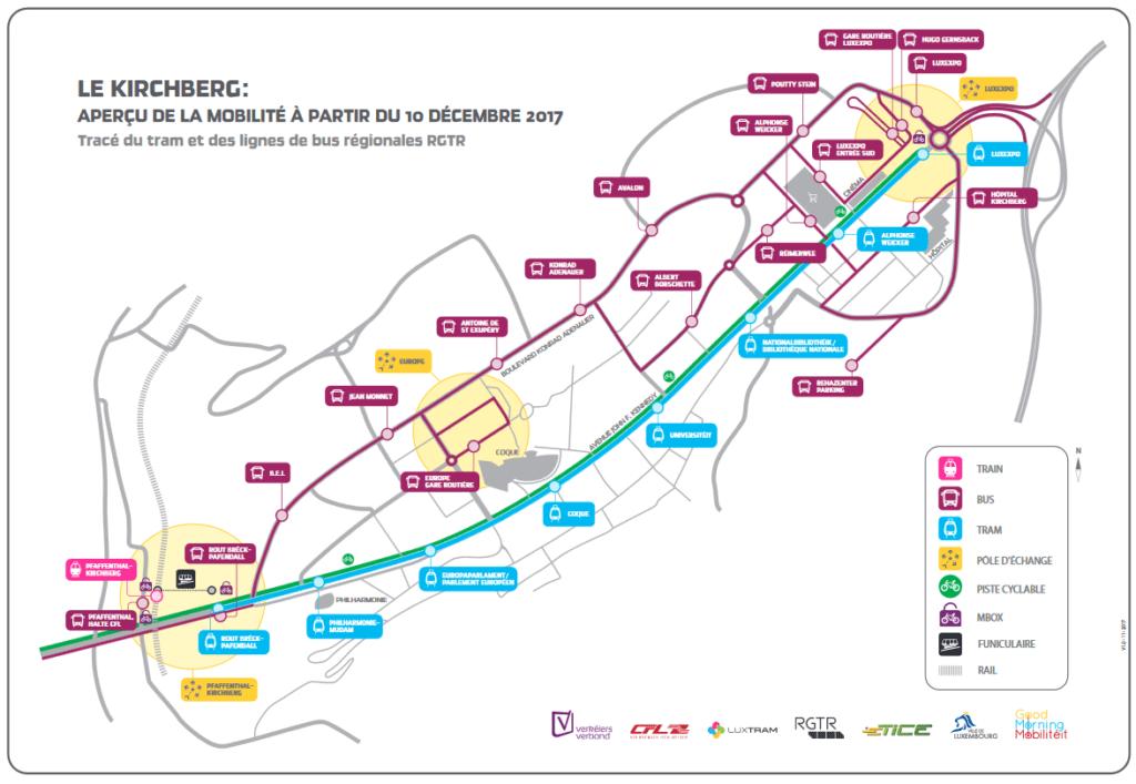 Plan ligne premier tronçon tramway Luxembourg