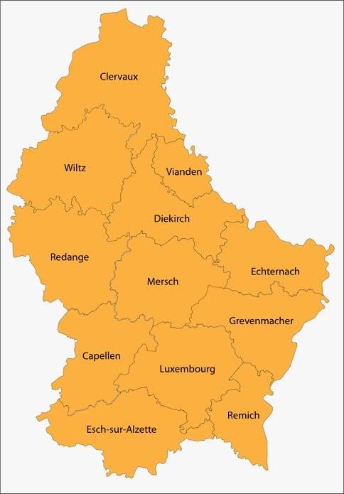 Carte Luxembourg villes les plus importantes