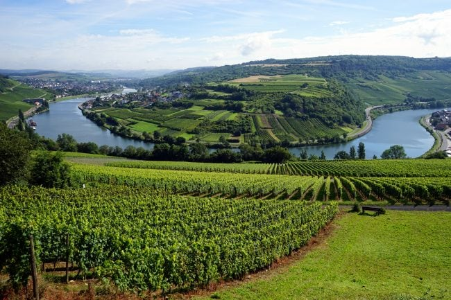 View of Mosell valley on the border Luxembourg