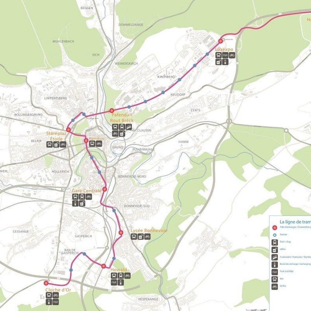 Streetcar tramway Luxembourg map